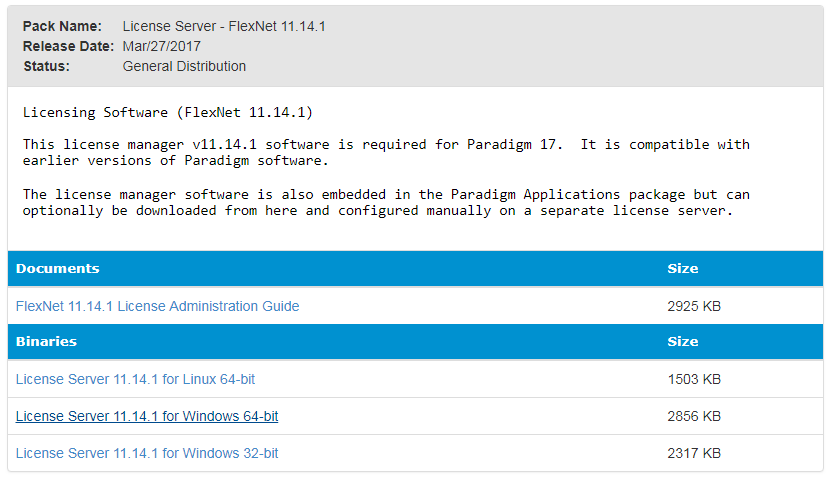 Downloading Paradigm Software and Release Documentation